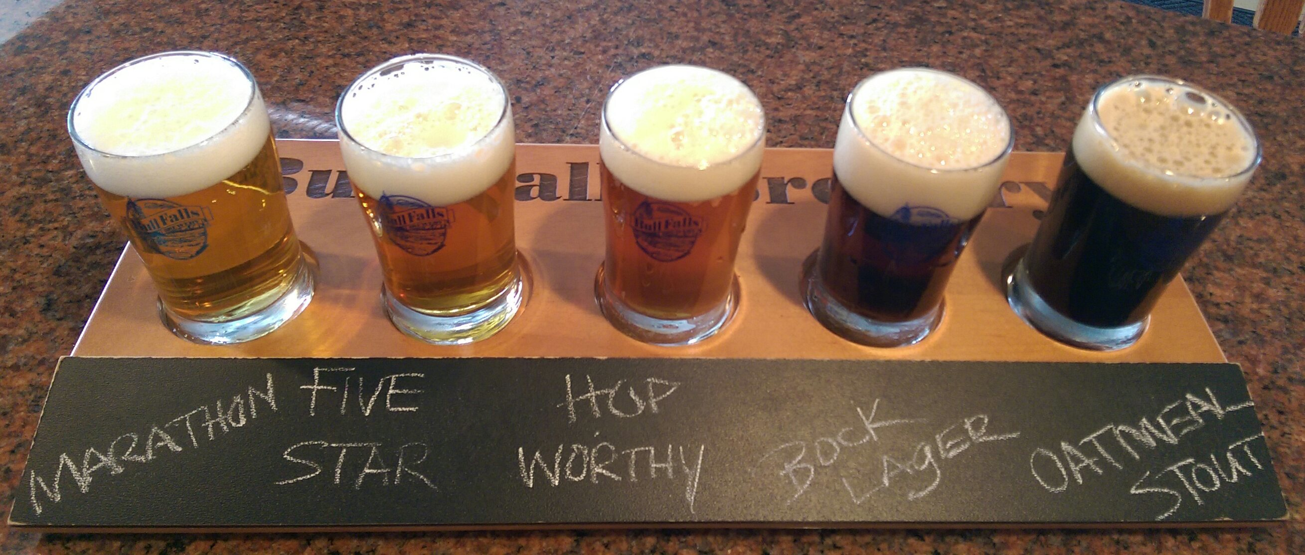 Choose 5 brews from our tap selection to complete your Bull Falls Beer Flight